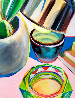 (CreativeWork) The Plant, The Pot, The Light and The Ashtray by Alison Pilcher. Acrylic. Shop online at Bluethumb.
