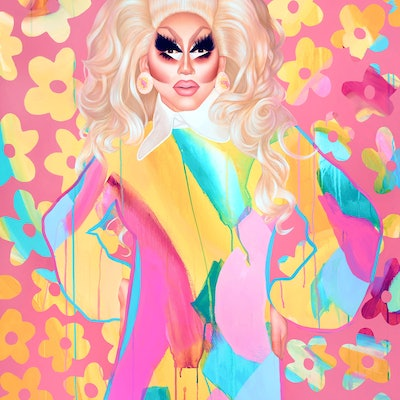 (CreativeWork) Trixie Mattel by Kim Leutwyler. oil-painting. Shop online at Bluethumb.