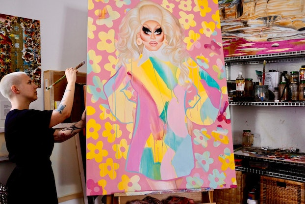(CreativeWork) Trixie Mattel by Kim Leutwyler. Oil Paint. Shop online at Bluethumb.