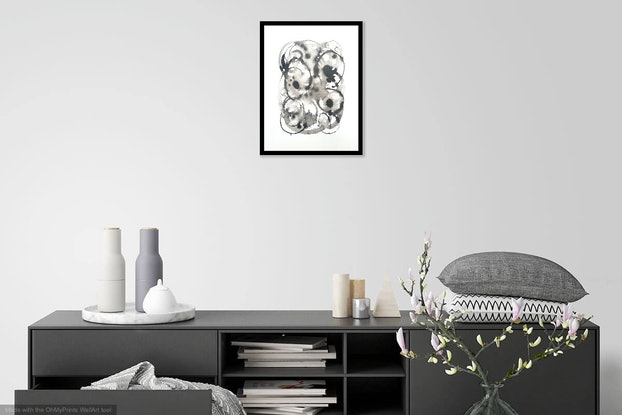 (CreativeWork) Vines and Thorns 2 - Framed 33x43x1 cm by Olga Kolesnik. Drawings. Shop online at Bluethumb.