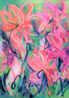 (CreativeWork) Delicious - Flowers - Abstract Vision Series - Unframed artwork on canvas paper by Jen Shewring. #<Filter:0x00007f1f803995a8>. Shop online at Bluethumb.