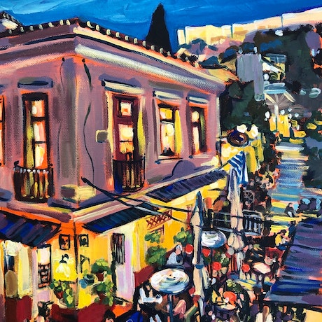 (CreativeWork) Steps of Plaka by Valentyna Crane. Acrylic Paint. Shop online at Bluethumb.