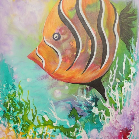 (CreativeWork) Swimming Alone by Lyn Olsen. Mixed Media. Shop online at Bluethumb.