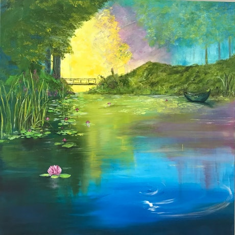 (CreativeWork) Reflections 2 by Pinki Das. Oil Paint. Shop online at Bluethumb.