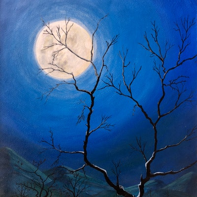 (CreativeWork) full moon by Aashish Mainali. acrylic-painting. Shop online at Bluethumb.