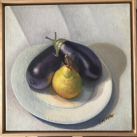 (CreativeWork) Still Life - with Aubergines & Pear  by Ishbel Morag Miller. Oil Paint. Shop online at Bluethumb.