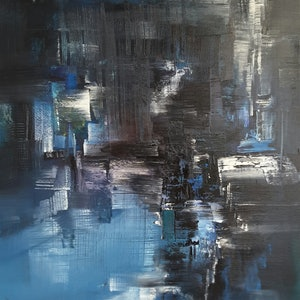 (CreativeWork) Dark Water  by Scott Maxwell. oil-painting. Shop online at Bluethumb.