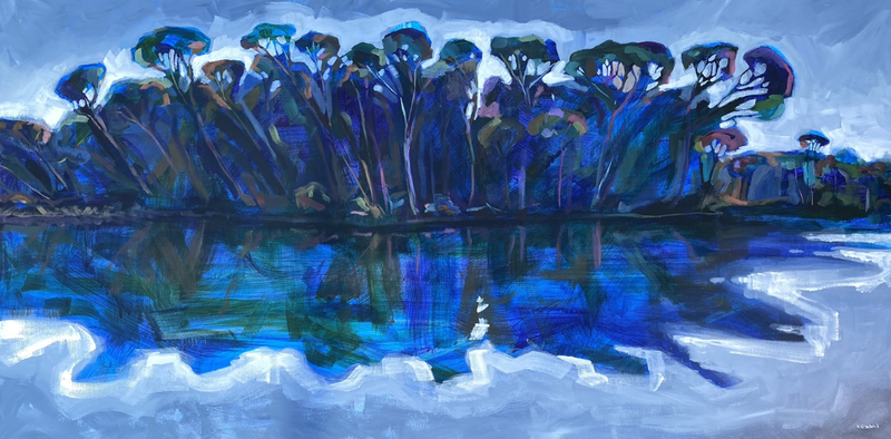 (CreativeWork) Blue Lagoon by Kate Gradwell. Acrylic Paint. Shop online at Bluethumb.