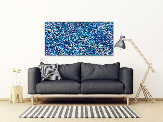 (CreativeWork) The River Why - Large Long Colourful Abstract Painting by Angela Hawkey. Acrylic Paint. Shop online at Bluethumb.
