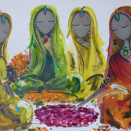 (CreativeWork) Bollywood - Rose Garden by Christine Donaldson. Acrylic Paint. Shop online at Bluethumb.