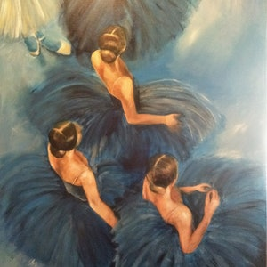 (CreativeWork) Ballerinas Backstage  by Kylie van Tol. arcylic-painting. Shop online at Bluethumb.