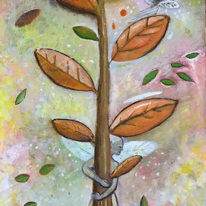 (CreativeWork) Tree Hugger by Tania Weekes. oil-painting. Shop online at Bluethumb.