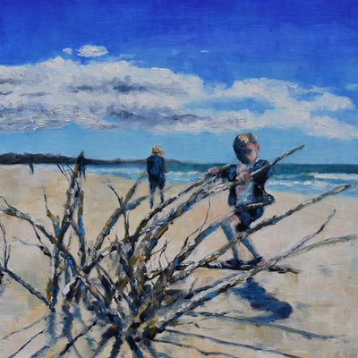 (CreativeWork) Koekohe Beach by James Wild. oil-painting. Shop online at Bluethumb.
