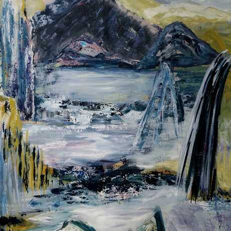 (CreativeWork) Through the Mist by Jenny Hines. Acrylic Paint. Shop online at Bluethumb.