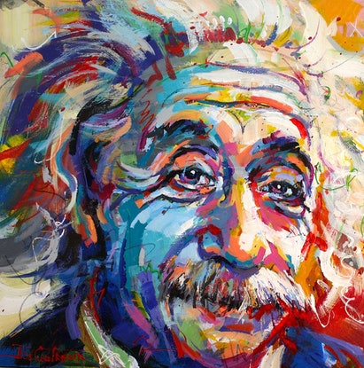 (CreativeWork) Albert Einstein by Jos Coufreur. Acrylic Paint. Shop online at Bluethumb.