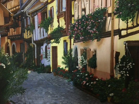 (CreativeWork) Cobbled stone village street in Alsace in France bordering Germany Ed. 2 of 25 by Myriam Malengret. Print. Shop online at Bluethumb.