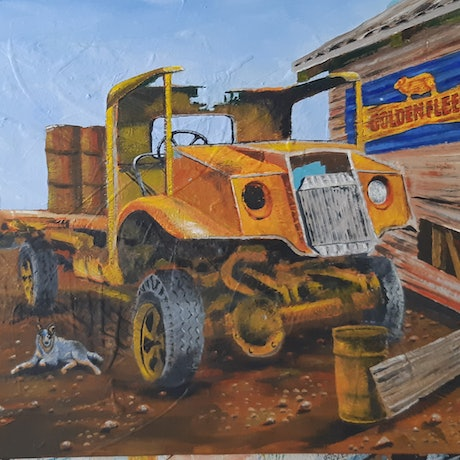 (CreativeWork) OLD YELLA AND BLUE DAWG by Graham Gardiner. Acrylic Paint. Shop online at Bluethumb.