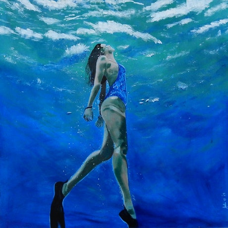 (CreativeWork) From the Deep - Woman Swimming Underwater by julie hollis. Acrylic Paint. Shop online at Bluethumb.