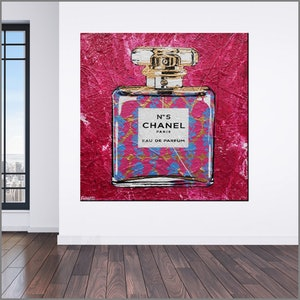 (CreativeWork) Pink Chanel huge 120cm x 120cm C.C.  coloured texture glossed Pop art  FRANKO  by _Franko _. mixed-media. Shop online at Bluethumb.