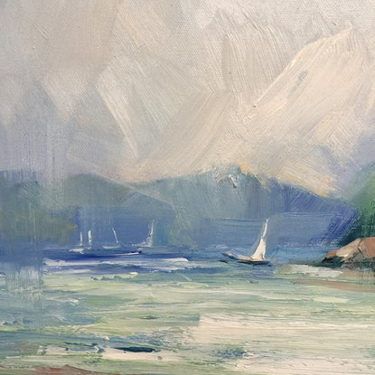 (CreativeWork) Portofino boats by Liliana Gigovic. Oil Paint. Shop online at Bluethumb.