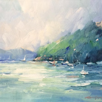 (CreativeWork) Portofino boats by Liliana Gigovic. oil-painting. Shop online at Bluethumb.