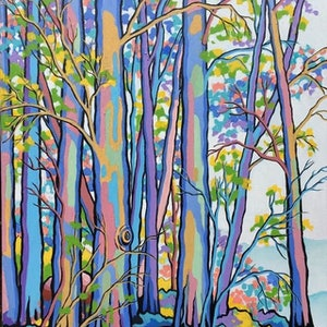 (CreativeWork) WHEN THE FOREST COMES TO LIFE 2 by Saadah Kent. acrylic-painting. Shop online at Bluethumb.