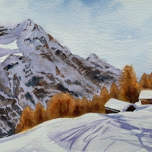 (CreativeWork) Swiss alps by Shelly Du. watercolour. Shop online at Bluethumb.