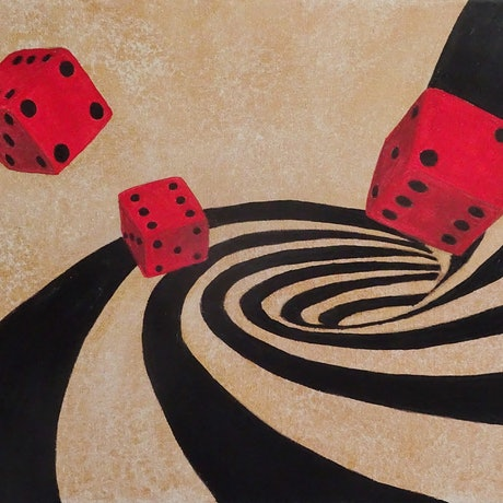 (CreativeWork) Dice Game by Julie-Anne Gatehouse. Acrylic Paint. Shop online at Bluethumb.