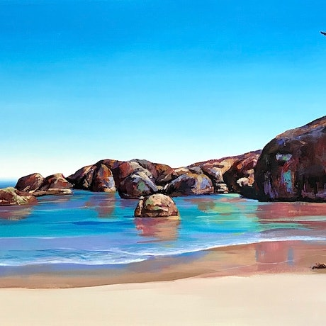 (CreativeWork) Elephant Rocks II by Jos Coufreur. Oil Paint. Shop online at Bluethumb.