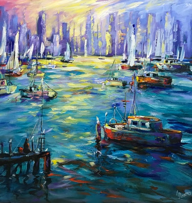 (CreativeWork) Vibrant Williamstown  by Ivana Pinaffo. Acrylic Paint. Shop online at Bluethumb.