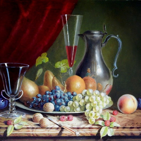 "(CreativeWork) ""Fruit symphony"" fruit on platter, pewter jug etc. by Jos Kivits. Oil Paint. Shop online at Bluethumb."