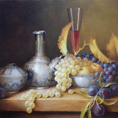 """(CreativeWork) """"Selected Ming blue & White with grapes, wine glass, apples & plums."""" by Jos Kivits. Oil Paint. Shop online at Bluethumb."""