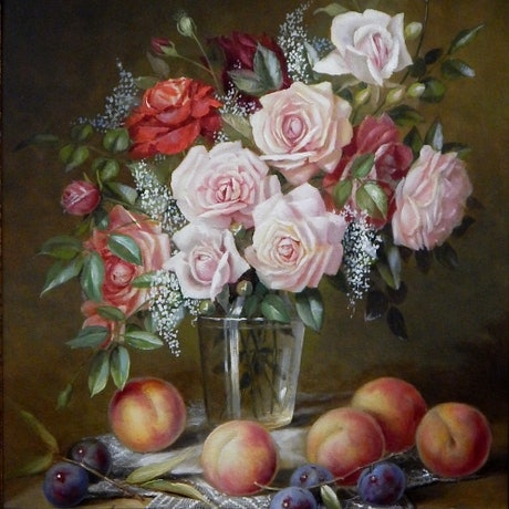 """(CreativeWork)  """"Roses in glass on ledge with some fruit.""""     by Jos Kivits. Oil Paint. Shop online at Bluethumb."""