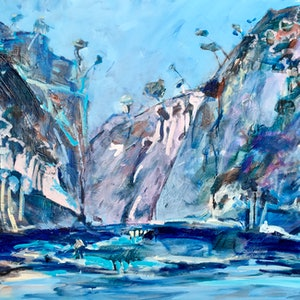 (CreativeWork) Blue Craggy Cliffs by Meredith Howse. arcylic-painting. Shop online at Bluethumb.