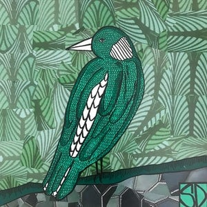 (CreativeWork) Emerald Magpie by Sally Dunbar. mixed-media. Shop online at Bluethumb.