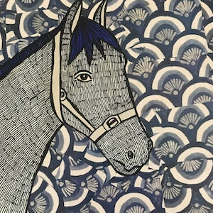 (CreativeWork) Blue Horse by Sally Dunbar. mixed-media. Shop online at Bluethumb.