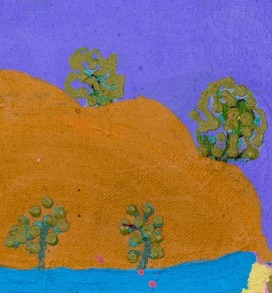 (CreativeWork) Landscape from Epenarra (18-EP75) by Carol Beasley. Acrylic Paint. Shop online at Bluethumb.