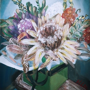 (CreativeWork) INSIDE OF THE GIFT BOX  - Protea, Banksia and bottle brush flowers by HSIN LIN. arcylic-painting. Shop online at Bluethumb.