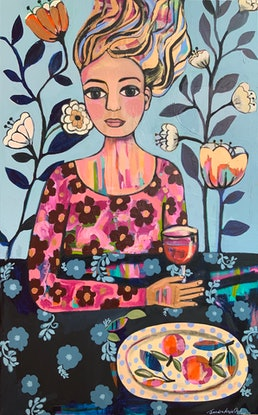 (CreativeWork) Red Wine & Oranges by Sandra Oost. Acrylic Paint. Shop online at Bluethumb.