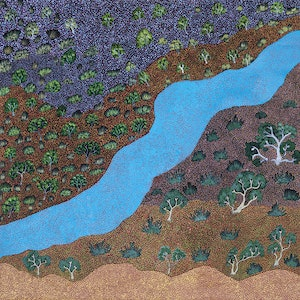 (CreativeWork) Epenarra River (18-EP109) by Susie Peterson. acrylic-painting. Shop online at Bluethumb.