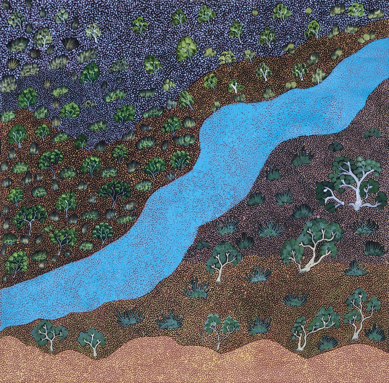 (CreativeWork) Epenarra River (18-EP109) by Susie Peterson. arcylic-painting. Shop online at Bluethumb.