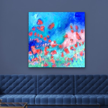 (CreativeWork) Plastic Love - Abstract Visions Series Flowers by Jen Shewring. Acrylic Paint. Shop online at Bluethumb.
