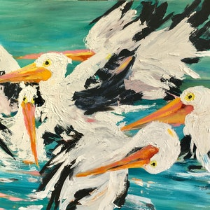 (CreativeWork) 'Pelican Party' by WANDA STAFFORD. arcylic-painting. Shop online at Bluethumb.