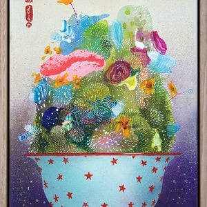 (CreativeWork) Lil Pot O' Life 3 by Amanda Krantz. arcylic-painting. Shop online at Bluethumb.