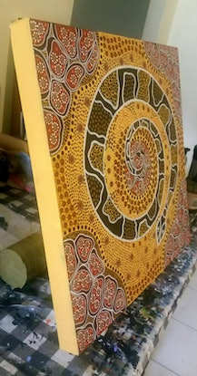 (CreativeWork) Noorn Boodjah - Snake Country by Michelle 'Wilura' Kickett. Acrylic Paint. Shop online at Bluethumb.