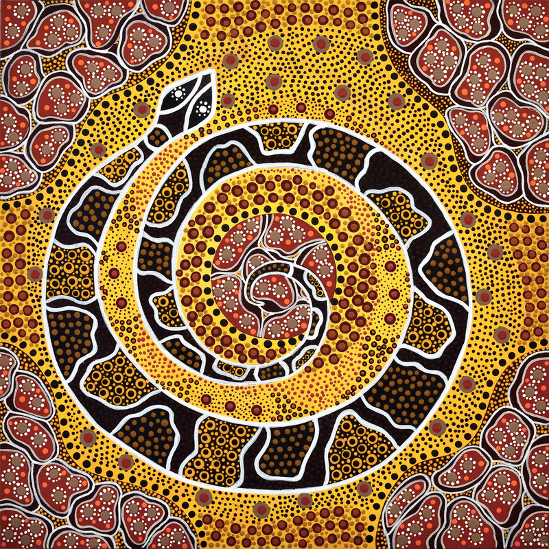(CreativeWork) Noorn Boodjah - Snake Country by Michelle 'Wilura' Kickett. arcylic-painting. Shop online at Bluethumb.