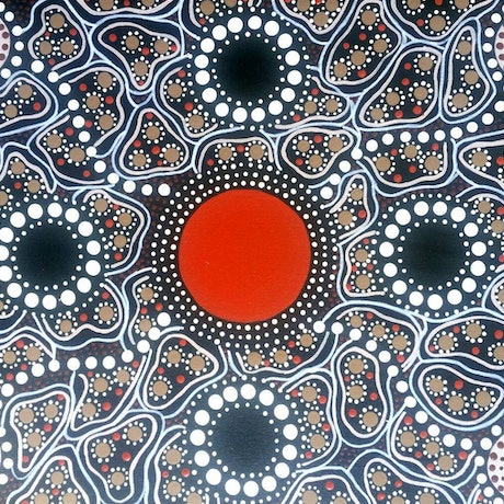 (CreativeWork) Circle of Elders by Michelle 'Wilura' Kickett. Acrylic Paint. Shop online at Bluethumb.