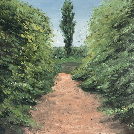 (CreativeWork) Frescati Lane with Tree, New Norfolk, Tasmania by Michael Bessell. Oil Paint. Shop online at Bluethumb.