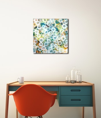 (CreativeWork) Aqueous Life Field I - Original Abstract Painting by Jacquelyn Stephens. Mixed Media. Shop online at Bluethumb.