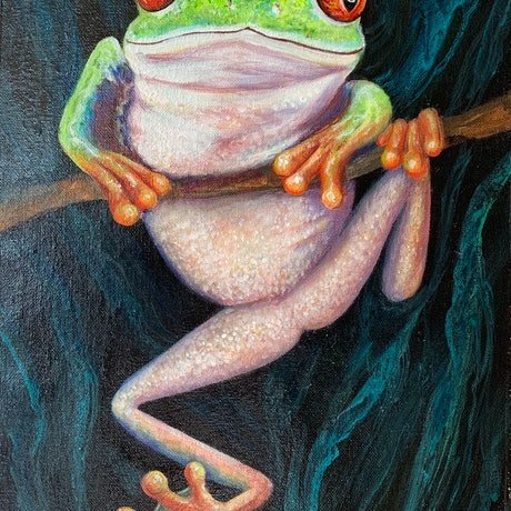 (CreativeWork) Green Frog by Jenni Zammit. Acrylic Paint. Shop online at Bluethumb.
